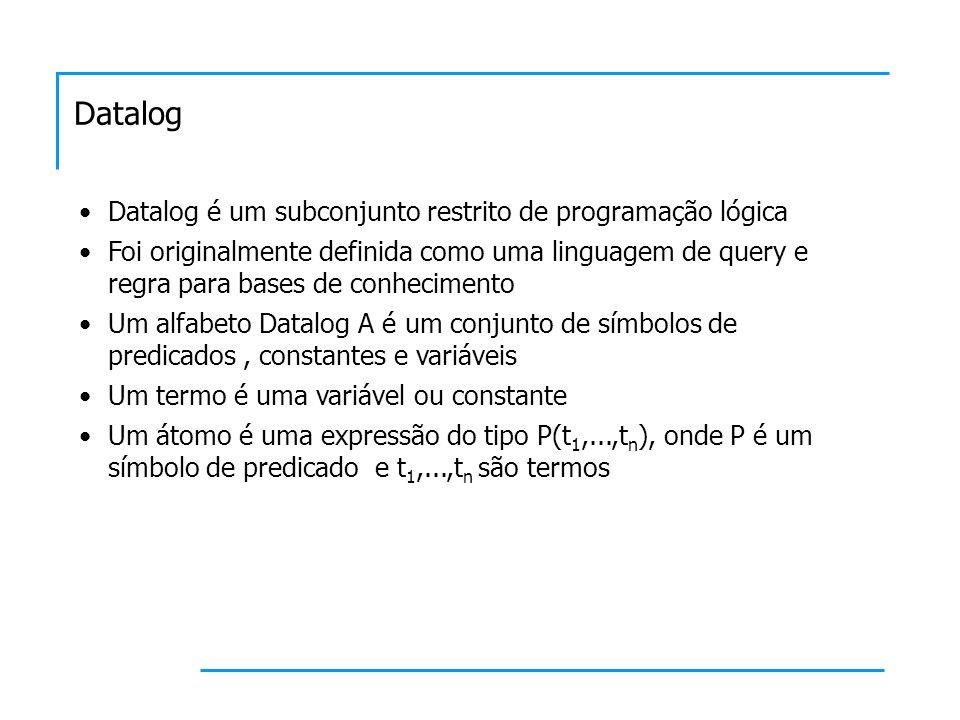 Datalog Datalog é um subconjunto restrito de programação lógica Foi originalmente definida como uma linguagem de query e regra para bases de conhecime