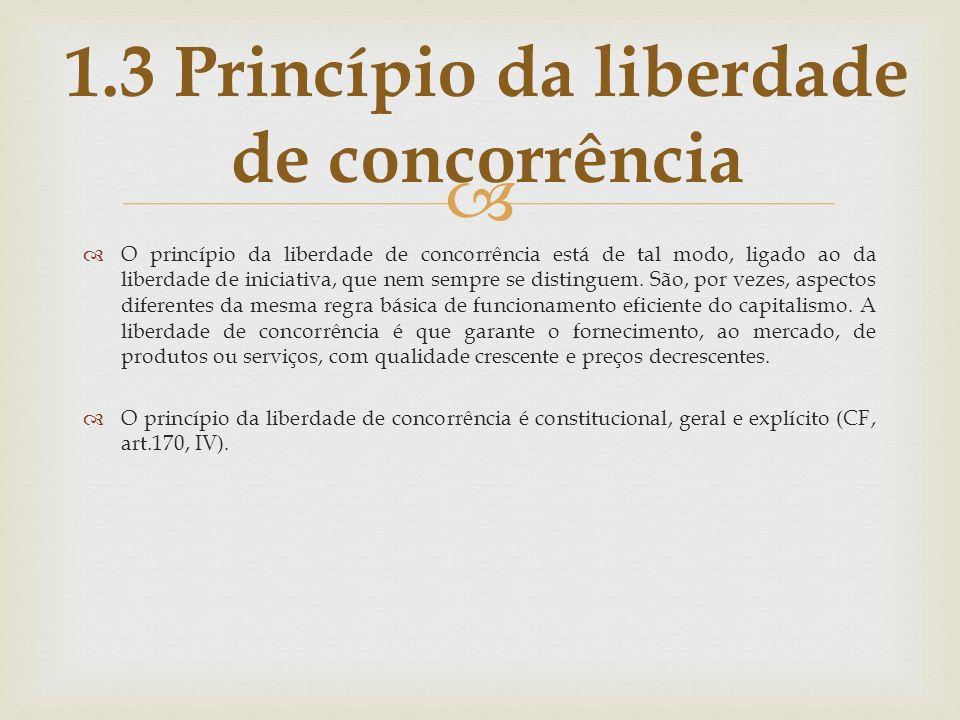 O princípio da liberdade de concorrência está de tal modo, ligado ao da liberdade de iniciativa, que nem sempre se distinguem. São, por vezes, aspecto
