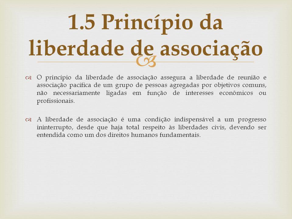 O princípio da liberdade de associação assegura a liberdade de reunião e associação pacífica de um grupo de pessoas agregadas por objetivos comuns, nã