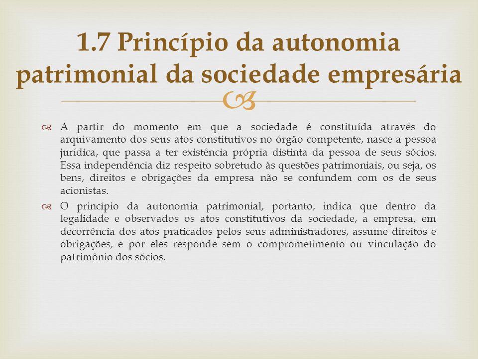 A partir do momento em que a sociedade é constituída através do arquivamento dos seus atos constitutivos no órgão competente, nasce a pessoa jurídica,