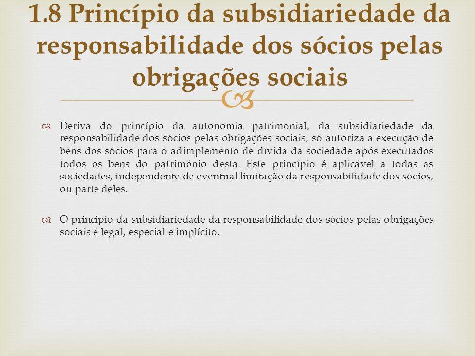 Deriva do princípio da autonomia patrimonial, da subsidiariedade da responsabilidade dos sócios pelas obrigações sociais, só autoriza a execução de be