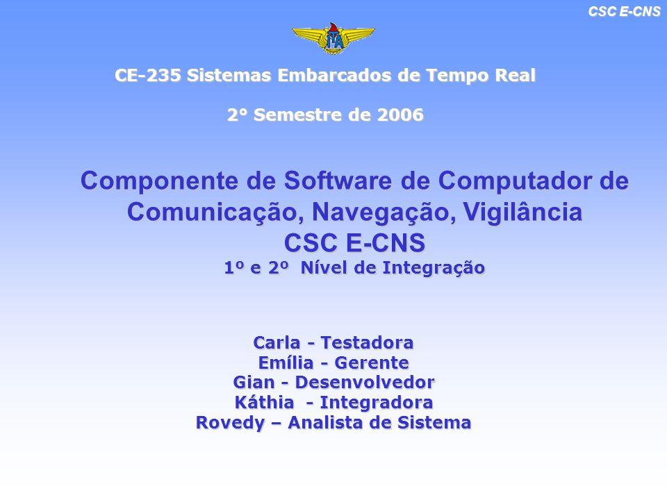 CSC E-CNS CE-235 Sistemas Embarcados de Tempo Real 2° Semestre de 2006 Componente de Software de Computador de Comunicação, Navegação, Vigilância CSC E-CNS 1º e 2º Nível de Integração Carla - Testadora Emília - Gerente Gian - Desenvolvedor Káthia - Integradora Rovedy – Analista de Sistema