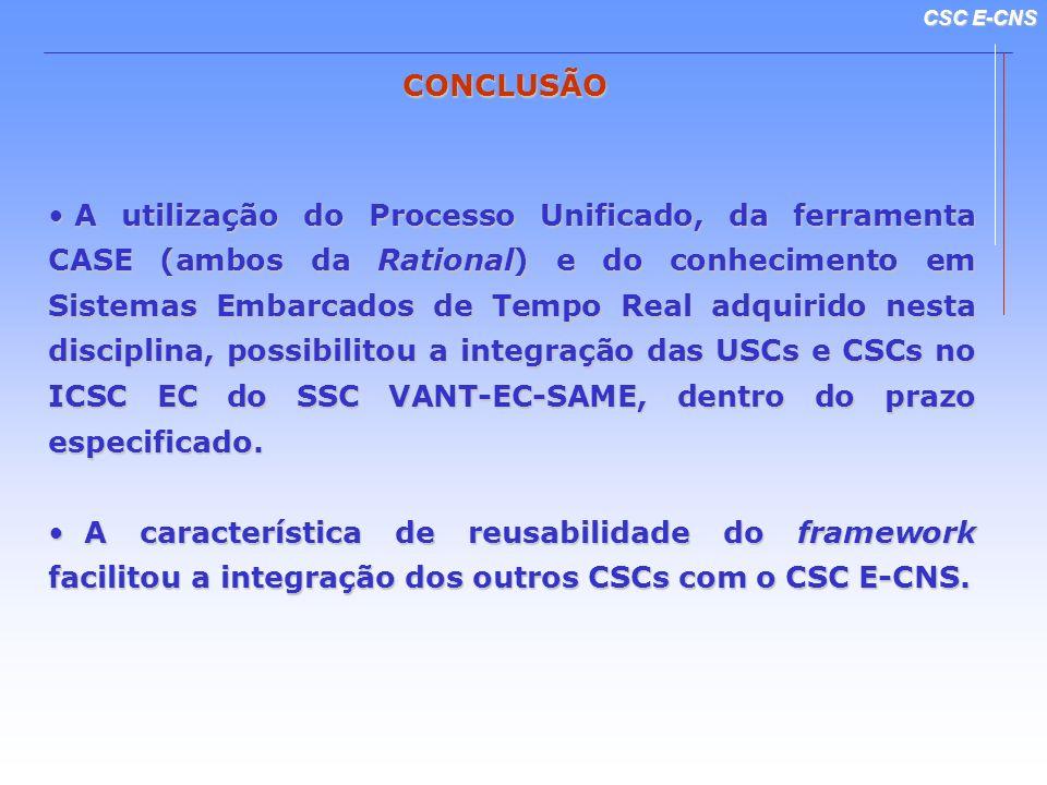 CSC E-CNS CONCLUSÃO A utilização do Processo Unificado, da ferramenta CASE (ambos da Rational) e do conhecimento em Sistemas Embarcados de Tempo Real adquirido nesta disciplina, possibilitou a integração das USCs e CSCs no ICSC EC do SSC VANT-EC-SAME, dentro do prazo especificado.