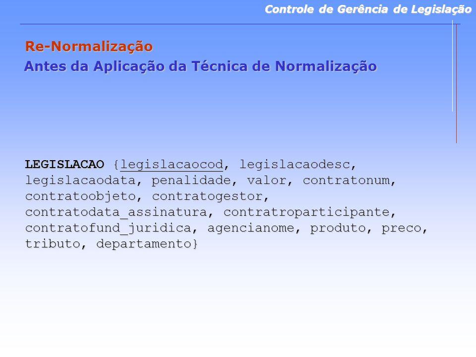 Controle de Gerência de Legislação Re-Normalização Antes da Aplicação da Técnica de Normalização LEGISLACAO {legislacaocod, legislacaodesc, legislacao