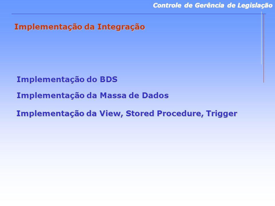 Controle de Gerência de Legislação Implementação da Integração Implementação do BDS Implementação da Massa de Dados Implementação da View, Stored Procedure, Trigger