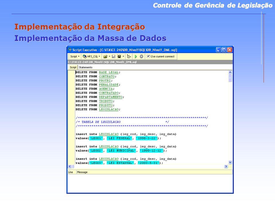 Controle de Gerência de Legislação Implementação da Integração Implementação da Massa de Dados