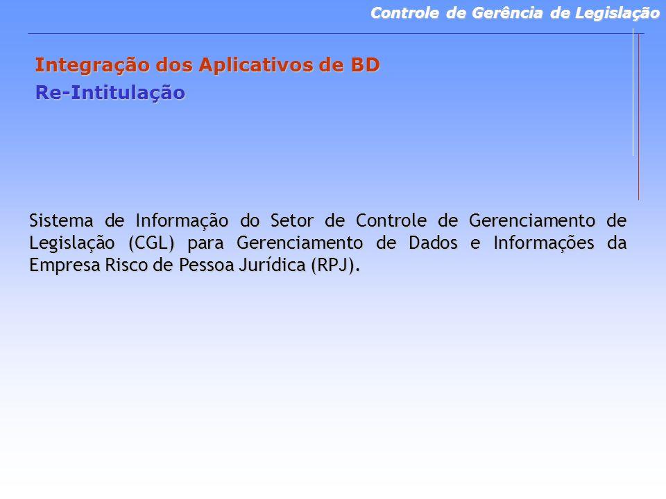 Controle de Gerência de Legislação Integração dos Aplicativos de BD Re-Intitulação Sistema de Informação do Setor de Controle de Gerenciamento de Legislação (CGL) para Gerenciamento de Dados e Informações da Empresa Risco de Pessoa Jurídica (RPJ).