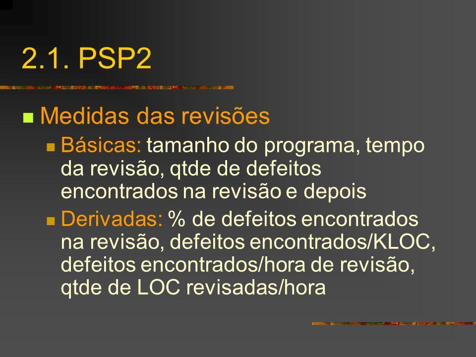 2.1. PSP2 Medidas das revisões Básicas: tamanho do programa, tempo da revisão, qtde de defeitos encontrados na revisão e depois Derivadas: % de defeit