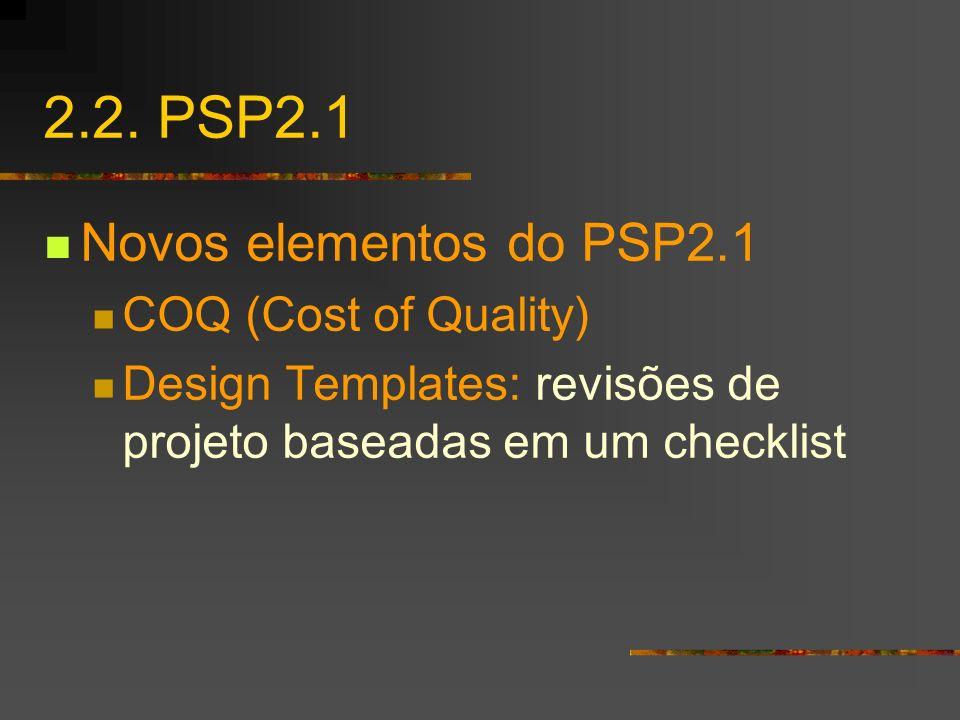 2.2. PSP2.1 Novos elementos do PSP2.1 COQ (Cost of Quality) Design Templates: revisões de projeto baseadas em um checklist