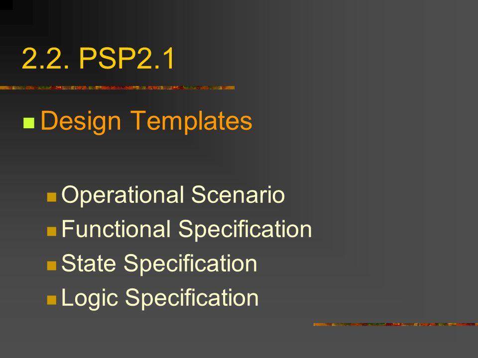 2.2. PSP2.1 Design Templates Operational Scenario Functional Specification State Specification Logic Specification