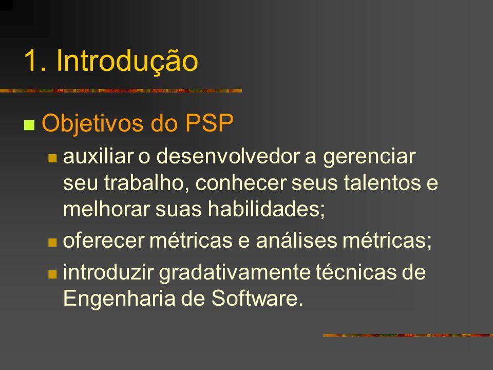 1. Introdução Objetivos do PSP auxiliar o desenvolvedor a gerenciar seu trabalho, conhecer seus talentos e melhorar suas habilidades; oferecer métrica