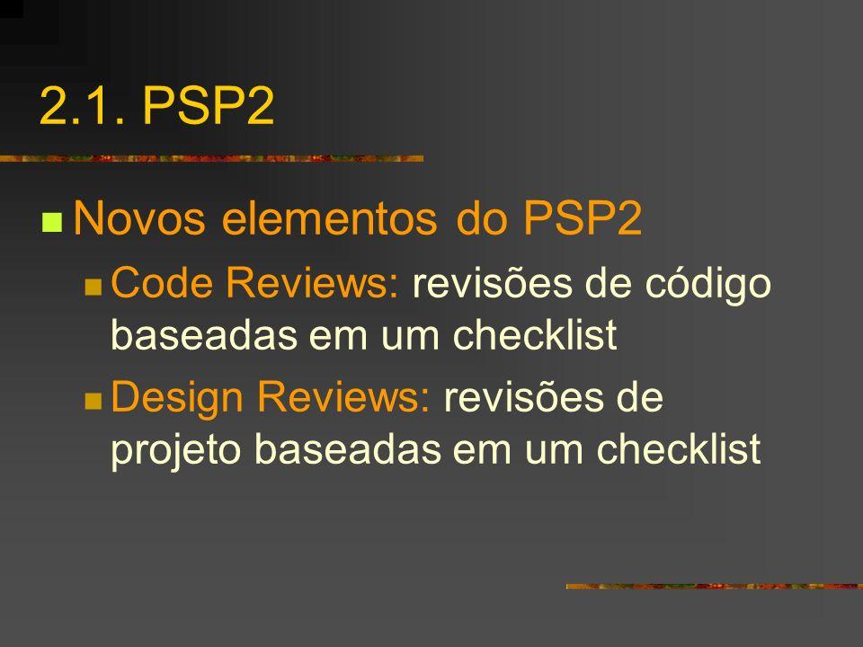 2.1. PSP2 Novos elementos do PSP2 Code Reviews: revisões de código baseadas em um checklist Design Reviews: revisões de projeto baseadas em um checkli