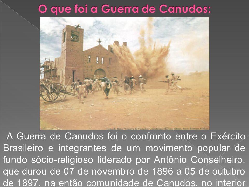 A Guerra de Canudos foi o confronto entre o Exército Brasileiro e integrantes de um movimento popular de fundo sócio-religioso liderado por Antônio Co