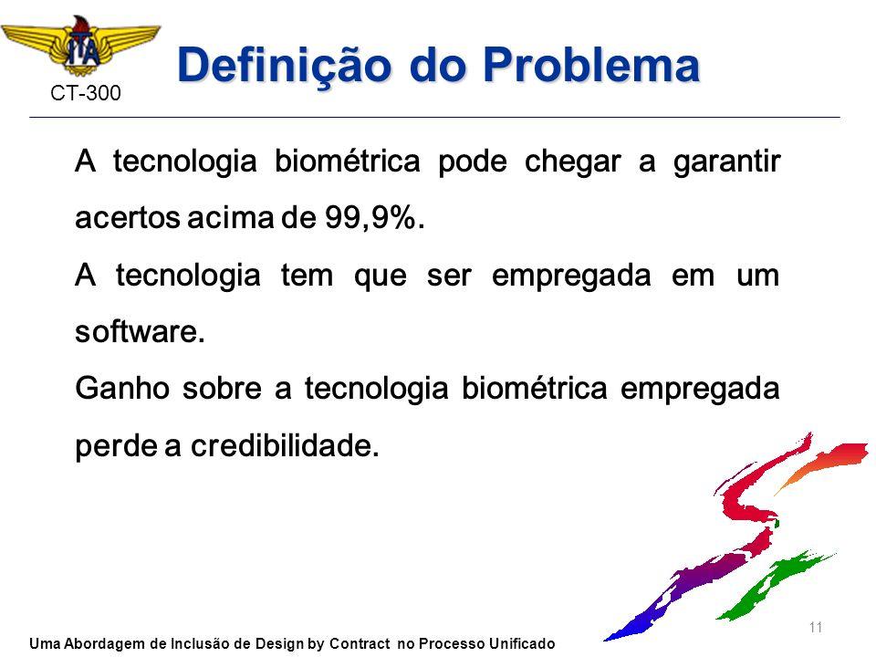CT-300 Definição do Problema A tecnologia biométrica pode chegar a garantir acertos acima de 99,9%. A tecnologia tem que ser empregada em um software.