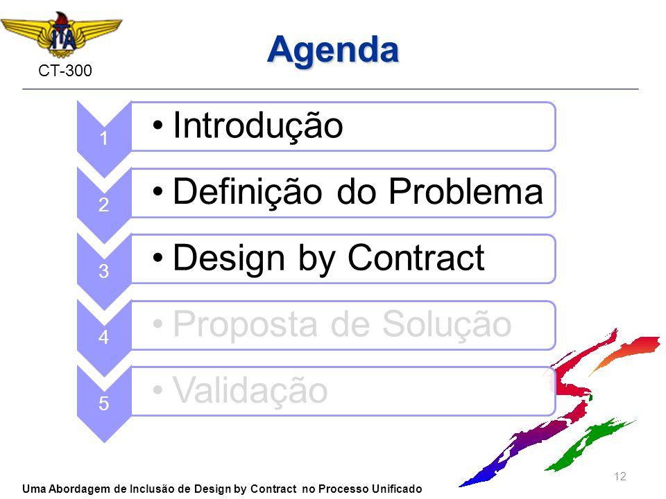 CT-300 Agenda 12 Uma Abordagem de Inclusão de Design by Contract no Processo Unificado 1 Introdução 2 Definição do Problema 3 Design by Contract 4 Pro
