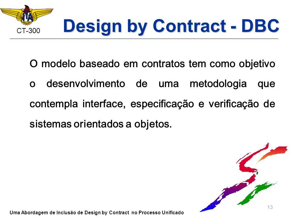 CT-300 Design by Contract - DBC O modelo baseado em contratos tem como objetivo o desenvolvimento de uma metodologia que contempla interface, especifi