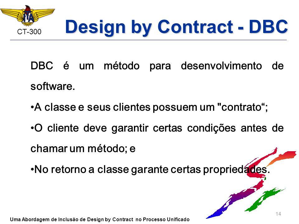 CT-300 DBC é um método para desenvolvimento de software. A classe e seus clientes possuem um