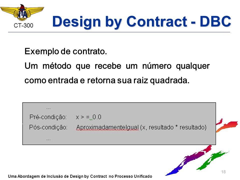 CT-300 Exemplo de contrato. Um método que recebe um número qualquer como entrada e retorna sua raiz quadrada. 18 Uma Abordagem de Inclusão de Design b