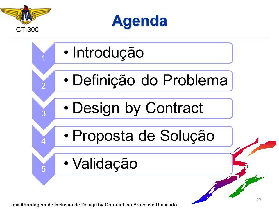 CT-300 Agenda 29 Uma Abordagem de Inclusão de Design by Contract no Processo Unificado 1 Introdução 2 Definição do Problema 3 Design by Contract 4 Pro