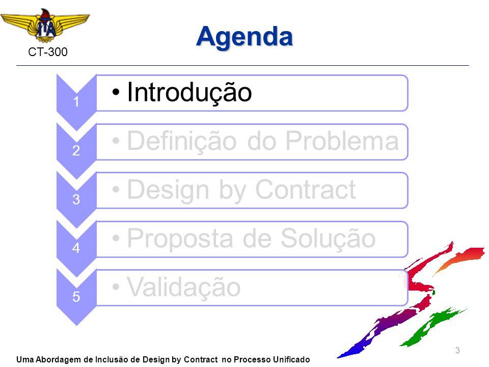 CT-300 Agenda 3 Uma Abordagem de Inclusão de Design by Contract no Processo Unificado 1 Introdução 2 Definição do Problema 3 Design by Contract 4 Prop