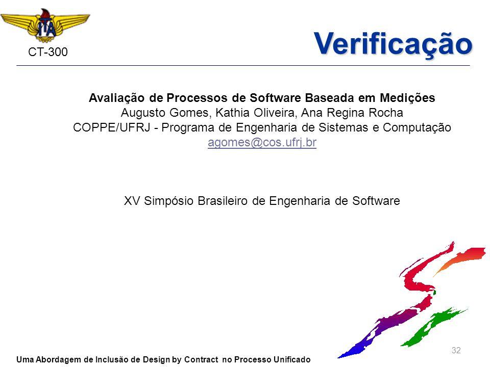 CT-300 32 Uma Abordagem de Inclusão de Design by Contract no Processo Unificado Verificação Avaliação de Processos de Software Baseada em Medições Aug