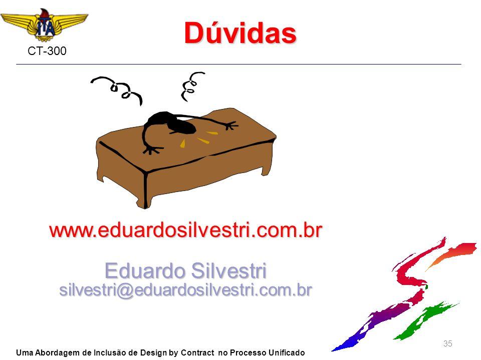 CT-300 www.eduardosilvestri.com.br Eduardo Silvestri silvestri@eduardosilvestri.com.br Dúvidas 35 Uma Abordagem de Inclusão de Design by Contract no P