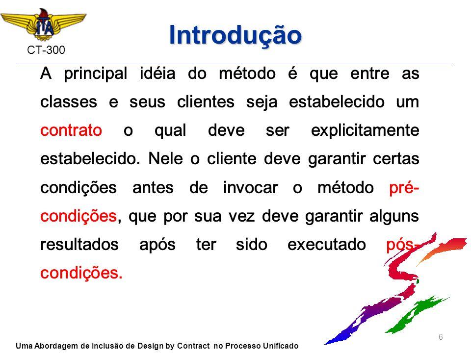 CT-300 Introdução A principal idéia do método é que entre as classes e seus clientes seja estabelecido um contrato o qual deve ser explicitamente esta