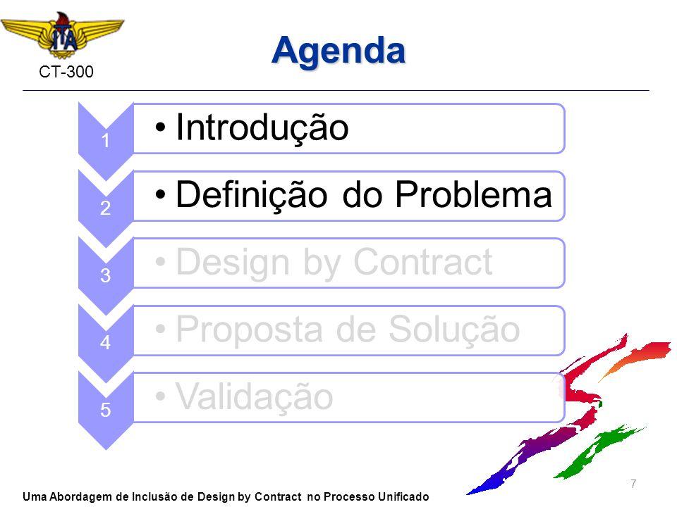 CT-300 Agenda 7 Uma Abordagem de Inclusão de Design by Contract no Processo Unificado 1 Introdução 2 Definição do Problema 3 Design by Contract 4 Prop