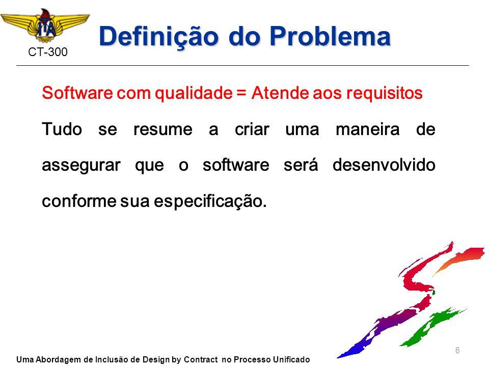CT-300 Definição do Problema Software com qualidade = Atende aos requisitos Tudo se resume a criar uma maneira de assegurar que o software será desenv