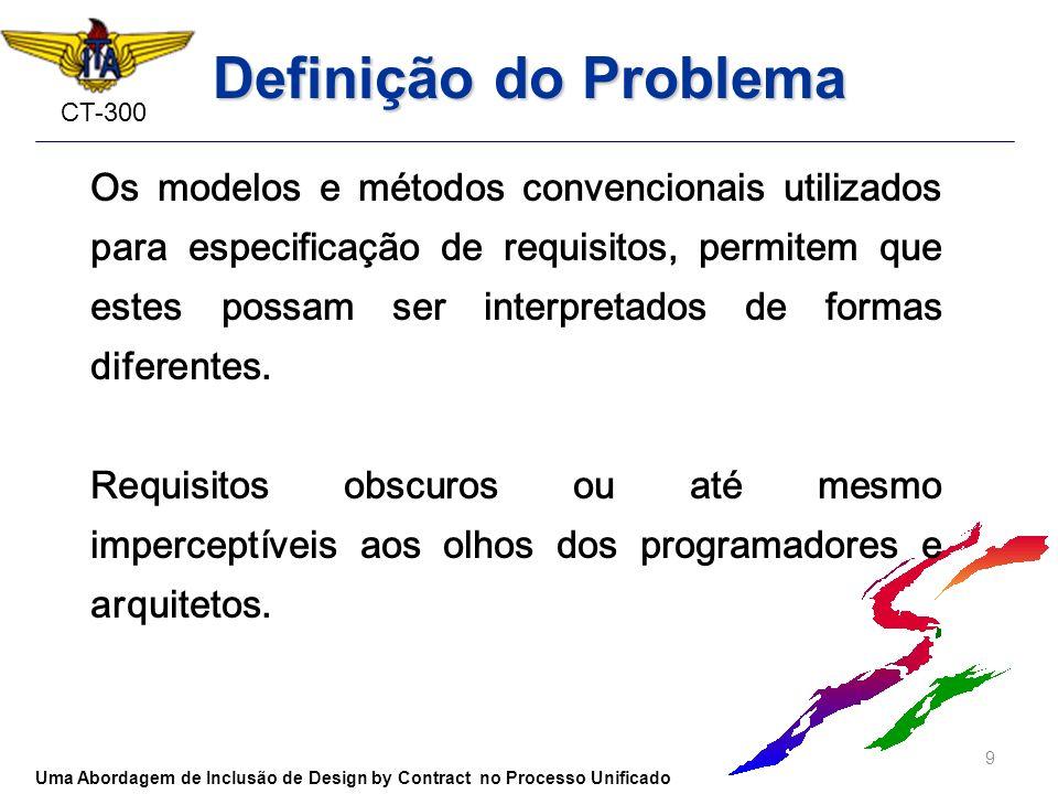 CT-300 Definição do Problema Os modelos e métodos convencionais utilizados para especificação de requisitos, permitem que estes possam ser interpretad