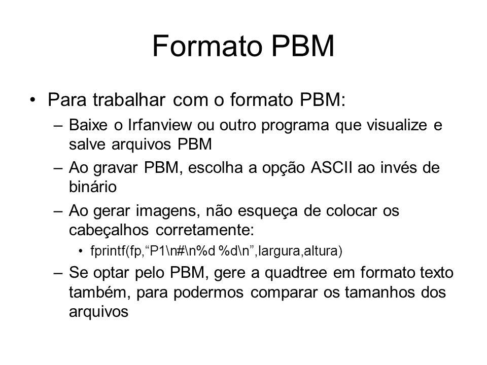 Formato PBM Para trabalhar com o formato PBM: –Baixe o Irfanview ou outro programa que visualize e salve arquivos PBM –Ao gravar PBM, escolha a opção ASCII ao invés de binário –Ao gerar imagens, não esqueça de colocar os cabeçalhos corretamente: fprintf(fp,P1\n#\n%d %d\n,largura,altura) –Se optar pelo PBM, gere a quadtree em formato texto também, para podermos comparar os tamanhos dos arquivos