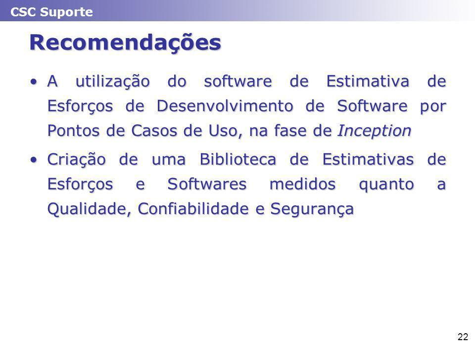 CSC Suporte 22 Recomendações A utilização do software de Estimativa de Esforços de Desenvolvimento de Software por Pontos de Casos de Uso, na fase de InceptionA utilização do software de Estimativa de Esforços de Desenvolvimento de Software por Pontos de Casos de Uso, na fase de Inception Criação de uma Biblioteca de Estimativas de Esforços e Softwares medidos quanto a Qualidade, Confiabilidade e SegurançaCriação de uma Biblioteca de Estimativas de Esforços e Softwares medidos quanto a Qualidade, Confiabilidade e Segurança