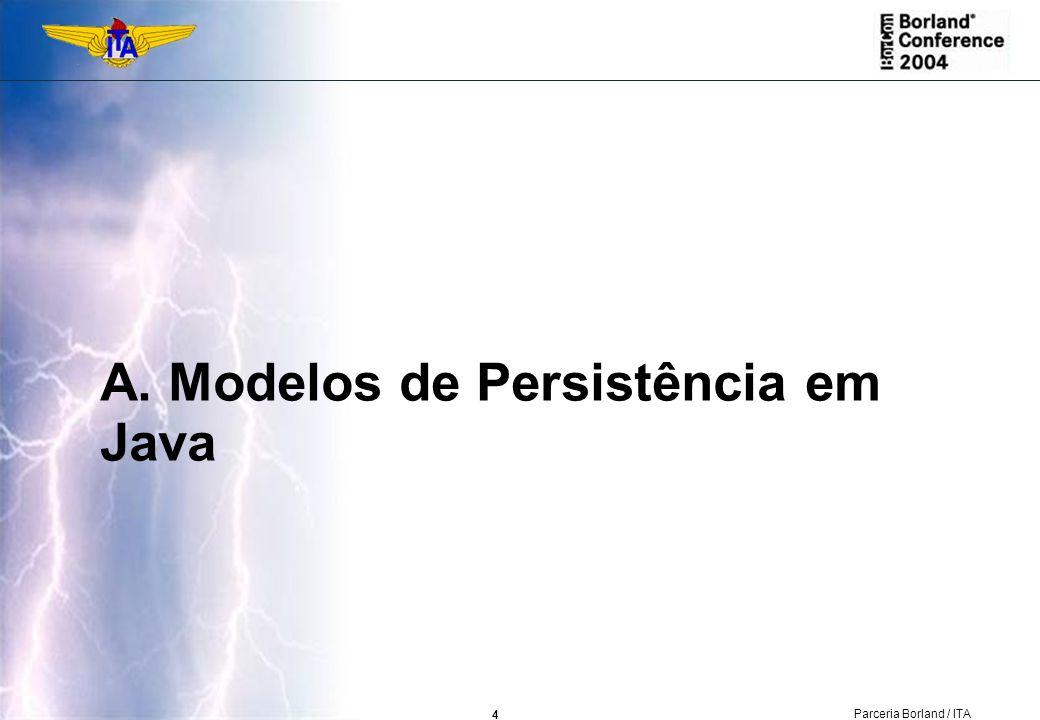 5 Parceria Borland / ITA Definição Persistência em Java pode ser definida como a manutenção do estado de objetos de uma aplicação em um armazenamento não-volátil, durante múltiplas execuções da JVM sujeitas a falhas do sistema e da aplicação.