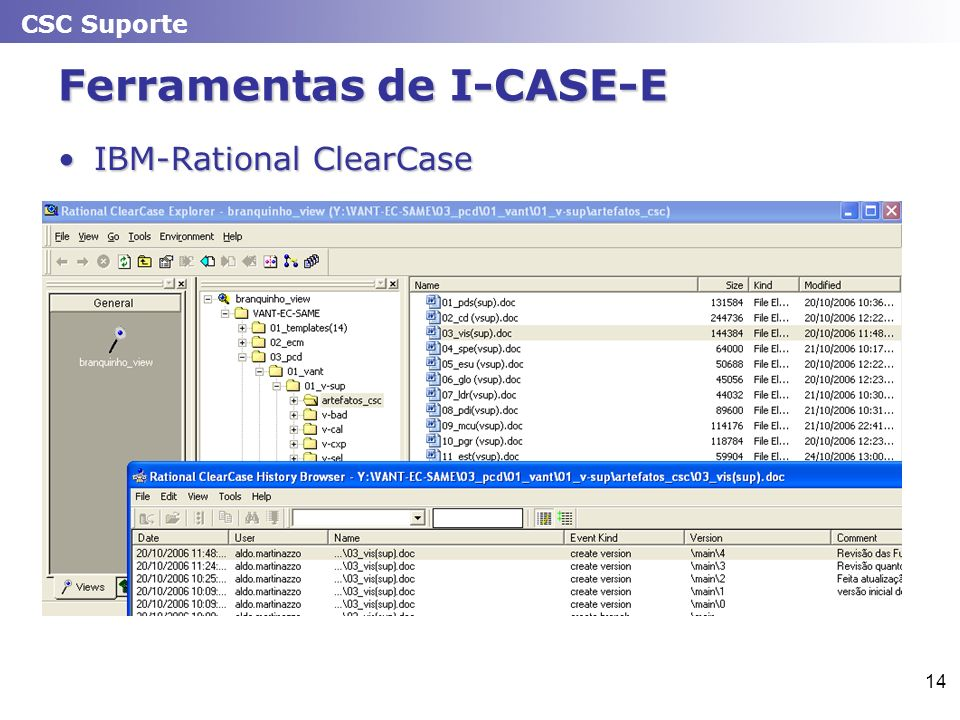 CSC Suporte 14 Ferramentas de I-CASE-E IBM-Rational ClearCaseIBM-Rational ClearCase