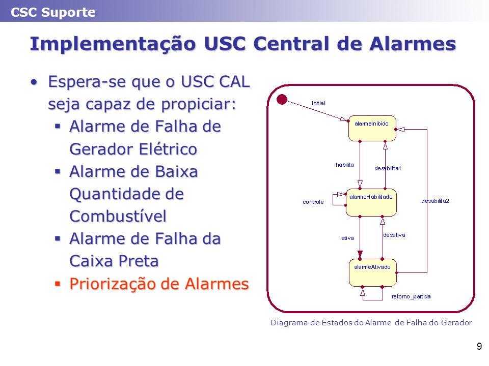 CSC Suporte 9 Implementação USC Central de Alarmes Espera-se que o USC CAL seja capaz de propiciar:Espera-se que o USC CAL seja capaz de propiciar: Al