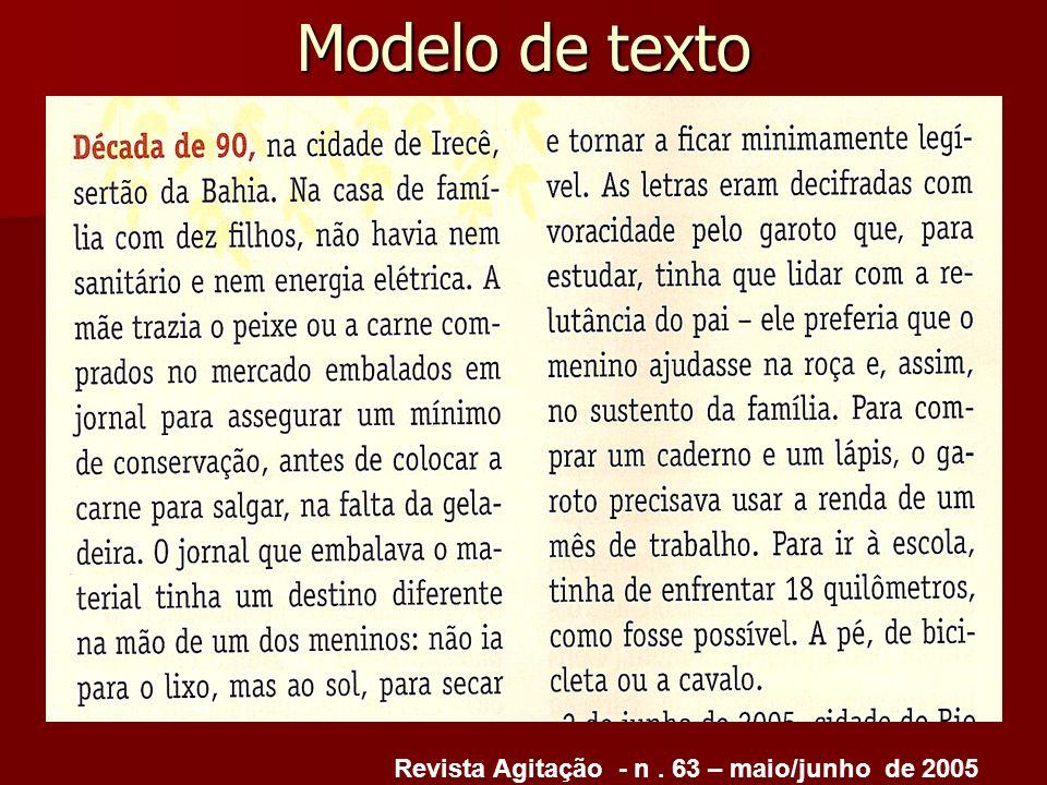 Modelo de texto Revista Agitação - n. 63 – maio/junho de 2005