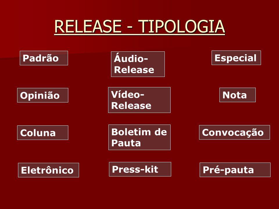 RELEASE - TIPOLOGIA Padrão Áudio- Release Opinião Especial Vídeo- Release Nota Coluna Boletim de Pauta Convocação Eletrônico Press-kit Pré-pauta