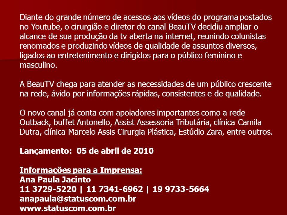 Diante do grande número de acessos aos vídeos do programa postados no Youtube, o cirurgião e diretor do canal BeauTV decidiu ampliar o alcance de sua