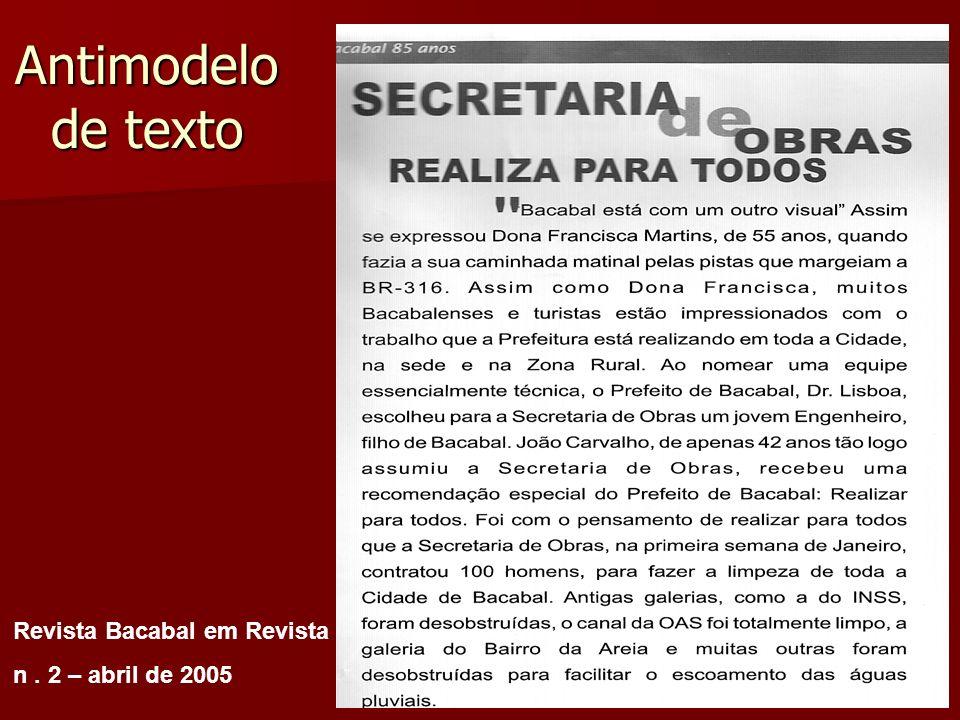 Antimodelo de texto Revista Bacabal em Revista n. 2 – abril de 2005