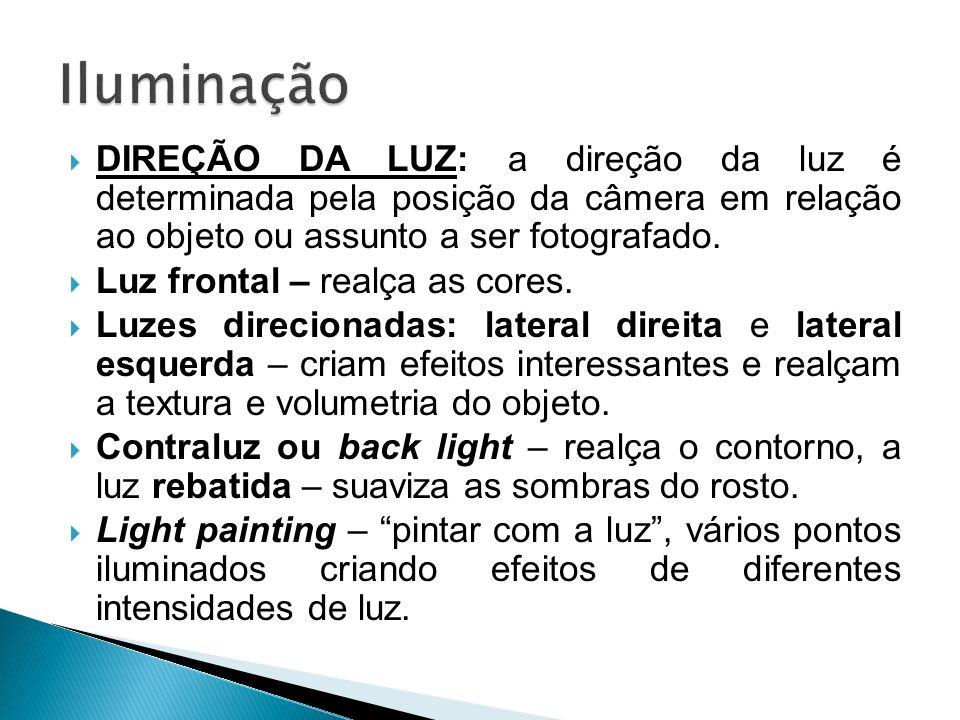 DIREÇÃO DA LUZ: a direção da luz é determinada pela posição da câmera em relação ao objeto ou assunto a ser fotografado. Luz frontal – realça as cores