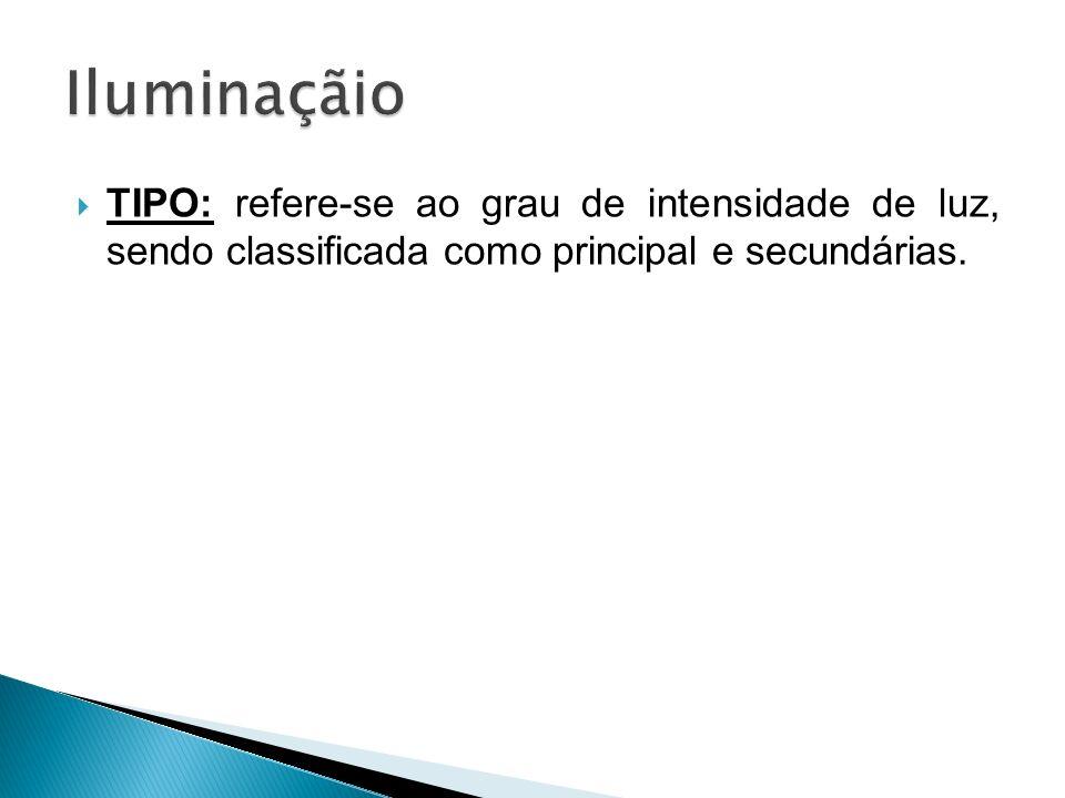 TIPO: refere-se ao grau de intensidade de luz, sendo classificada como principal e secundárias.
