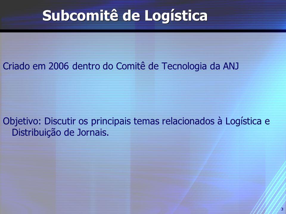 3 Subcomitê de Logística Criado em 2006 dentro do Comitê de Tecnologia da ANJ Objetivo: Discutir os principais temas relacionados à Logística e Distri