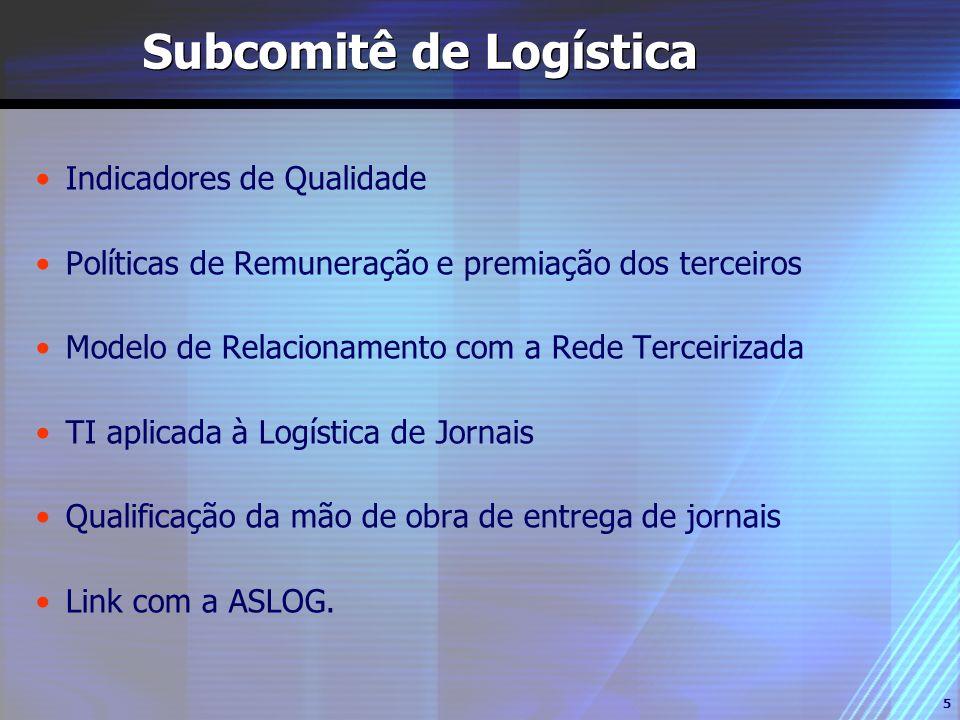 5 Subcomitê de Logística Indicadores de Qualidade Políticas de Remuneração e premiação dos terceiros Modelo de Relacionamento com a Rede Terceirizada