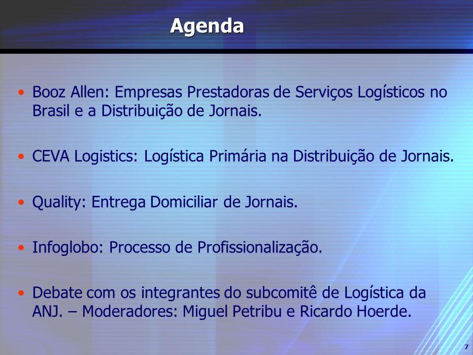 7 Agenda Booz Allen: Empresas Prestadoras de Serviços Logísticos no Brasil e a Distribuição de Jornais. CEVA Logistics: Logística Primária na Distribu
