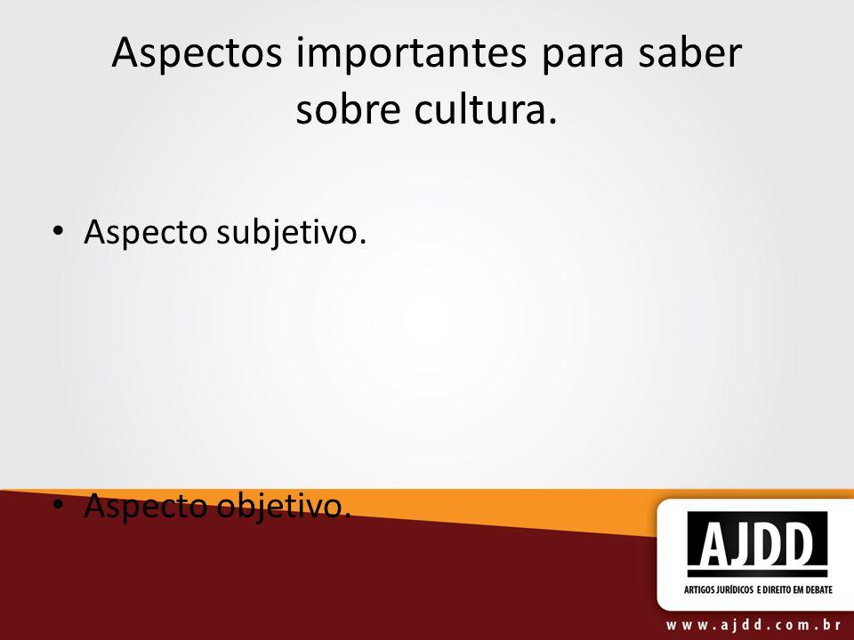 Aspectos importantes para saber sobre cultura. Aspecto subjetivo. Aspecto objetivo.