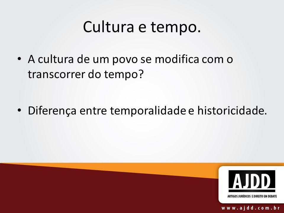 Cultura e tempo. A cultura de um povo se modifica com o transcorrer do tempo? Diferença entre temporalidade e historicidade.