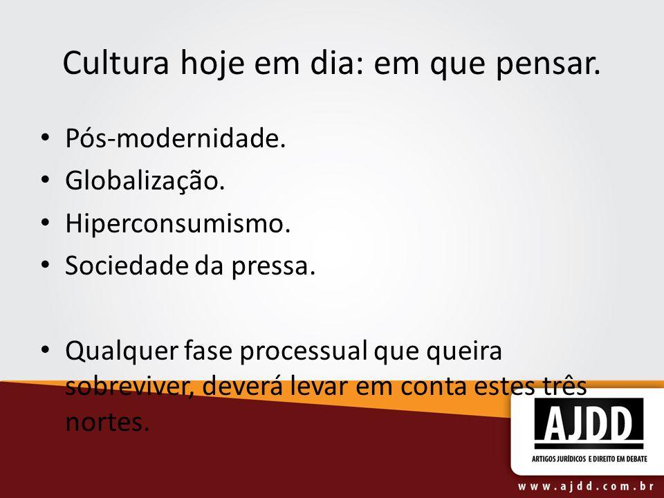 Cultura hoje em dia: em que pensar. Pós-modernidade. Globalização. Hiperconsumismo. Sociedade da pressa. Qualquer fase processual que queira sobrevive