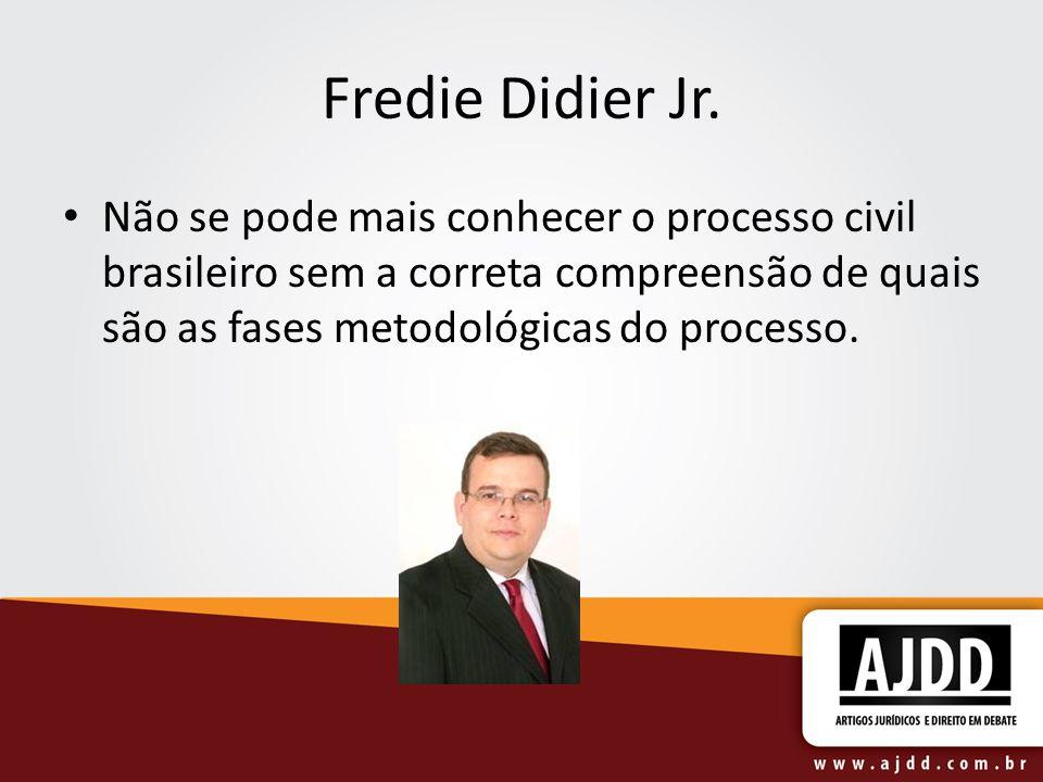 Fredie Didier Jr. Não se pode mais conhecer o processo civil brasileiro sem a correta compreensão de quais são as fases metodológicas do processo.