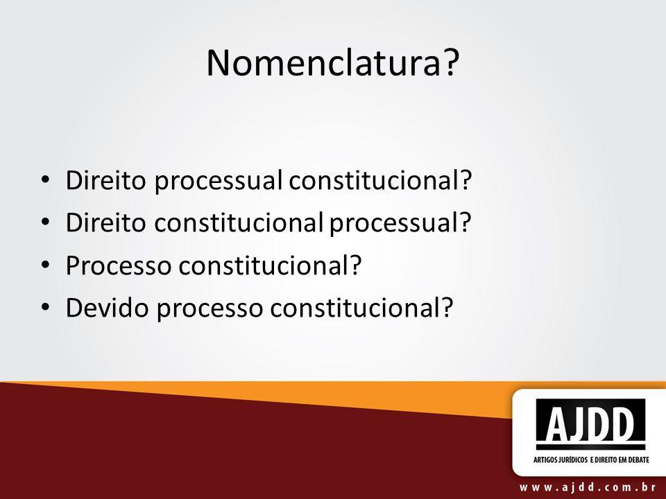 Nomenclatura? Direito processual constitucional? Direito constitucional processual? Processo constitucional? Devido processo constitucional?