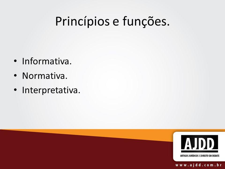 Princípios e funções. Informativa. Normativa. Interpretativa.
